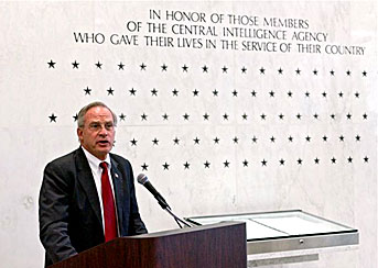 Porter delivers remarks at CIA Headquarters in Langley, Virginia.